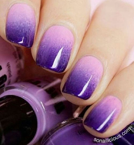 Purple Polish Nails Ombre