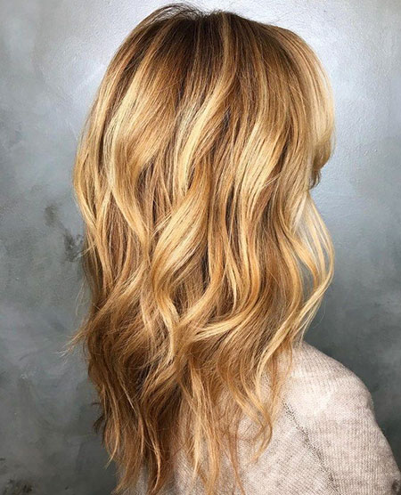 Blonde Hair Wavy Balayage