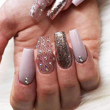 Nails Nail Coffin Glitter