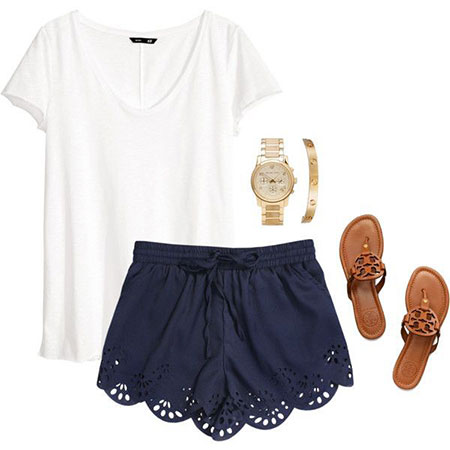 Summer Outfits White Blue