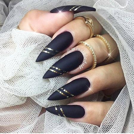 Nail Nails Gold Black