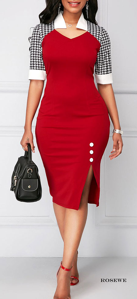 Peplum Red Sheath Dress
