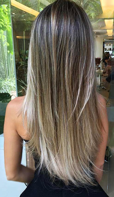 Hair Blonde Layers Sleek