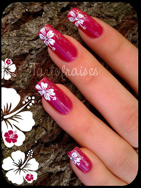 Nail Flowers Hawaiian Nails