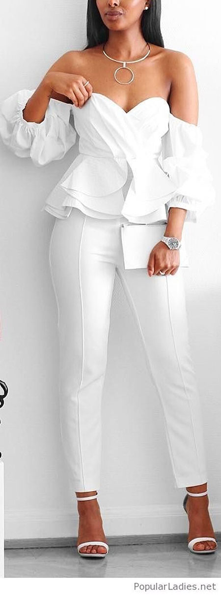Classy All White Outfits for Women, Shoulder All White Trendy