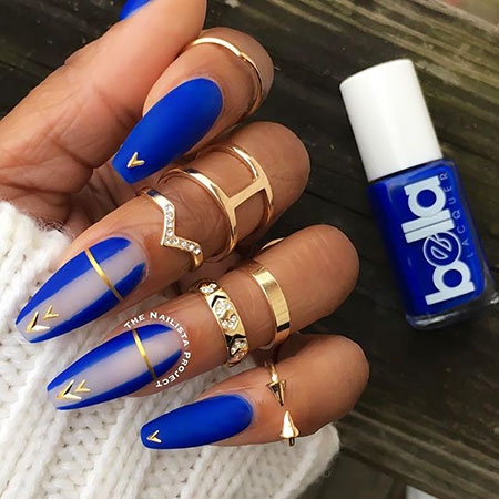 Blue Coffin Nails, Nails Blue Nail Matte