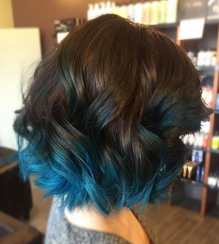 Blue Ombre Short Hair, Hair Blue Ombre Color