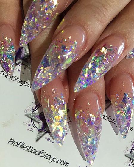 Metallic Long Stiletto Nails, Nails Nail Acrylic Designs