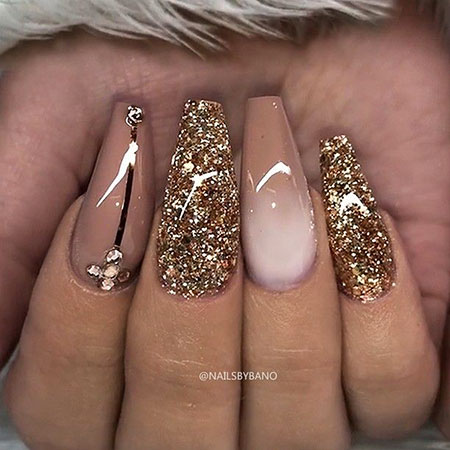 Long Coffin Nail Designs, Nails Nail Coffin Glitter
