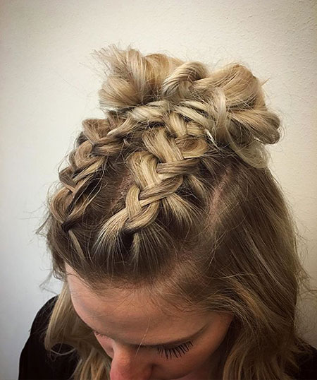 Dutch Braids Bun, Hair Braids Buns Hairtyles