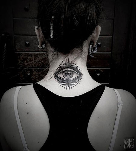 Eye Tattoo on Neck for Women, Makeup Skull Eye Neck