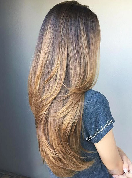 Balayage Brown Hair with Layers, Balayage Brown Light Long