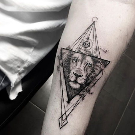 Best Half Geometric Lion Tattoo, Lion Geometric Tattoo Tattoos