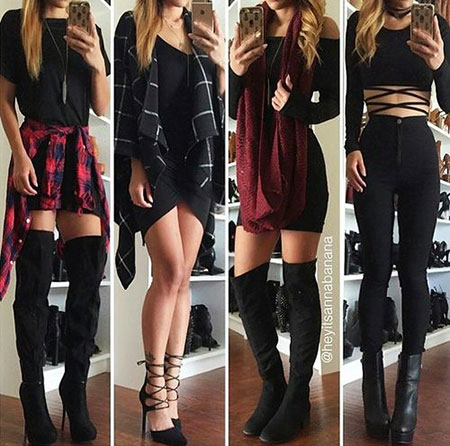 Four Ways to Wear Black and Red, Outfits Black Fashion Love