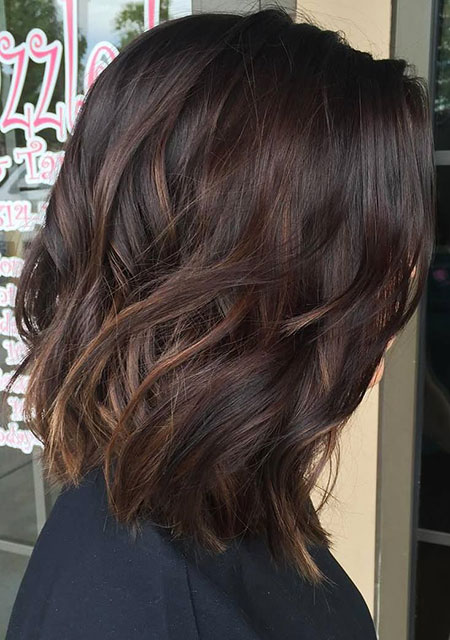 Bob Cut for Dark Brown Hair with Highlights, Hair Balayage Brown Dark