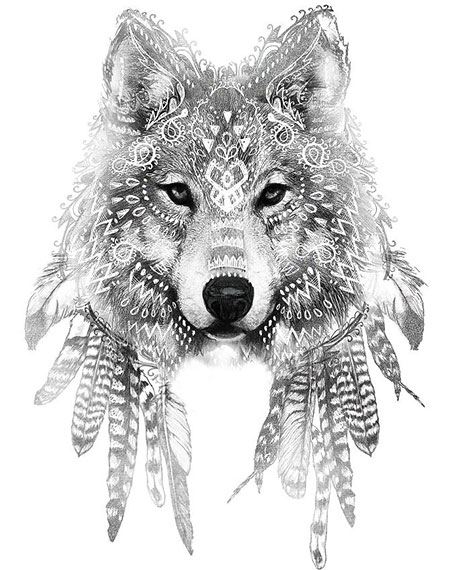 Wolf Tattoo Style with Feathers, Wolf Tattoo Art Warrior