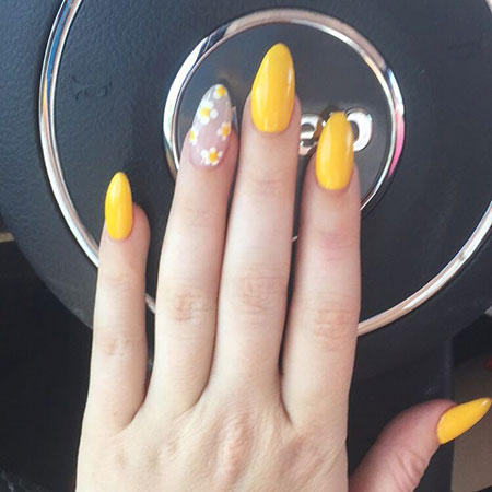 Cute Yellow Acrylic Nails with Flowers, Nail Nails Yellow Gel
