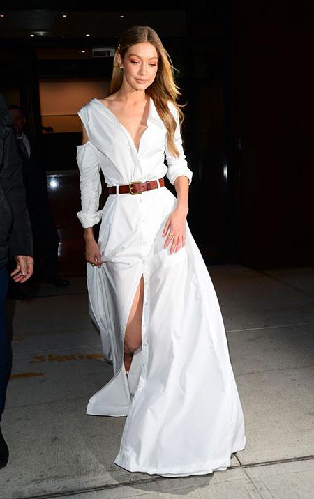 Amazing White Long Dress Look, Hadid Gigi Summer All