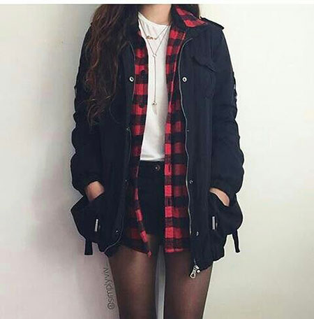 Grunge Style Outfit, Fashion Outfits Plaid White