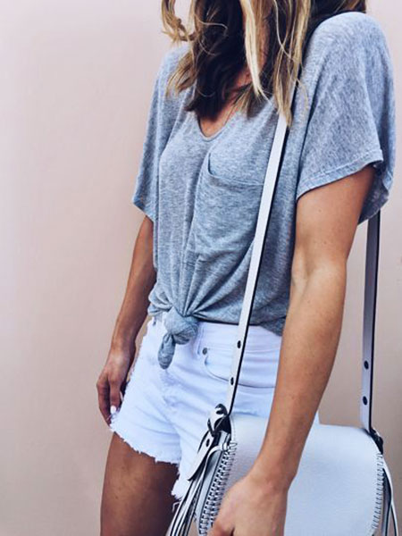 High Waisted White Shorts, Outfits Style Denim Summer