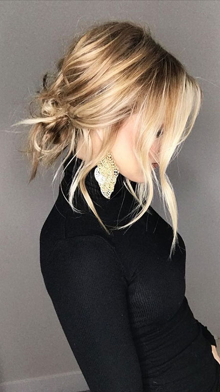 Cute Low Messy Bun, Blonde Choppy Hair Bobs