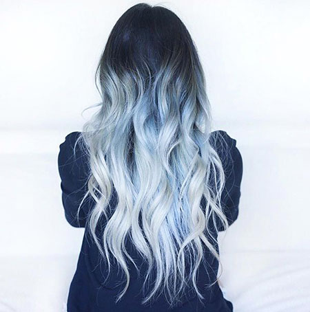 Long Ombre Grey Blue Hair, Hair Ombre Blue Color