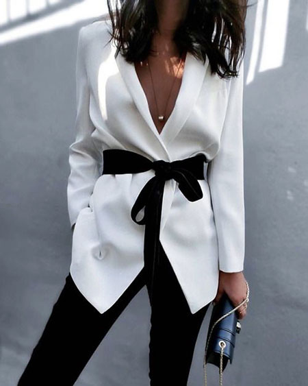 White Blazer Black Belt Combination, Style Clothes Coat Blazer