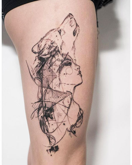 Cool Wolf Tattoo with Woman, Tattoo Wolf Geometric Ink
