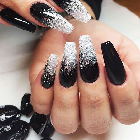 Black and Silver Nail Style, Nails Black Nail Silver