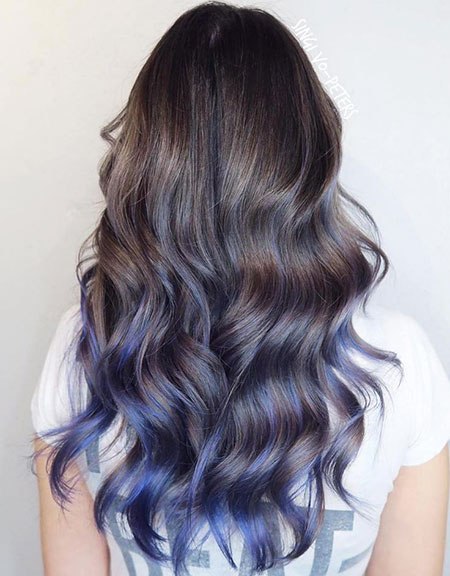 Blue Balayage Ombre on Brown Hair, Hair Blue Ombre Balayage