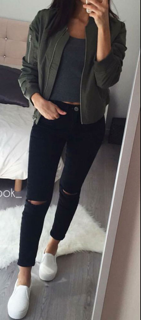 Black Jean and Bomber Jacket, Skinny Grey Dark Black