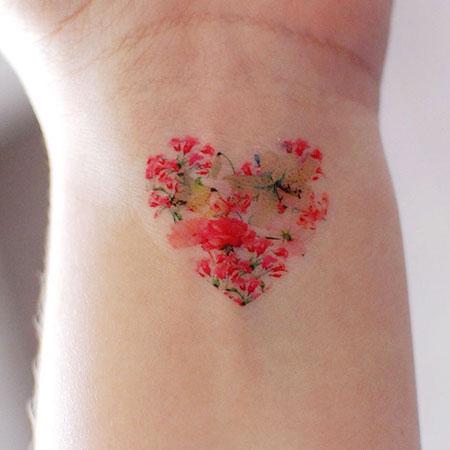 Cherry Blossom Heart Tattoo Idea, Tattoo Tattoos Heart Floral