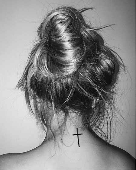 Cross Tattoo Idea on Neck, Hair Neck Cross Bun