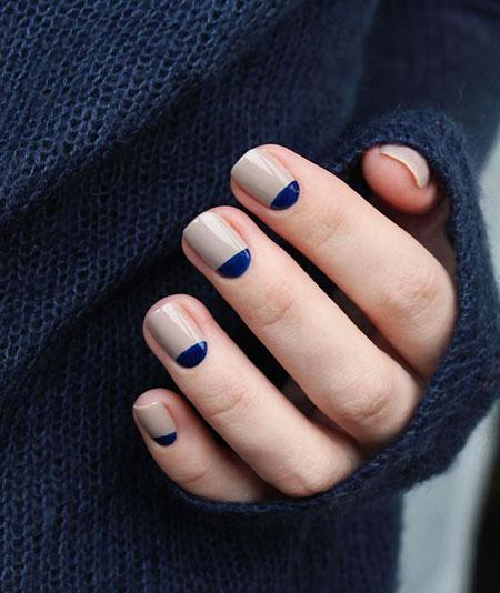 Half Moon Nail Design, Nail Nails Manicure Blue