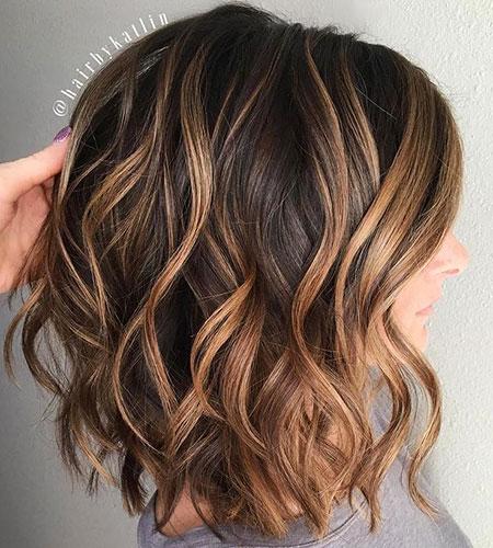 Lob Cut with Loose Curls, Lob Bob Wavy Brown