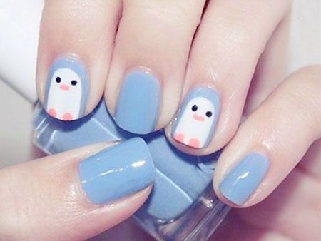 Adorable Penguin Nail Art, Nail Manicure Designs Art