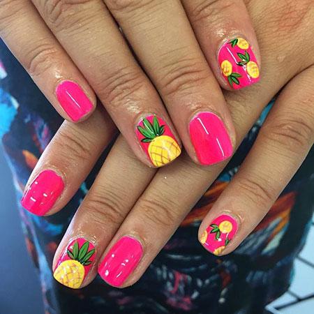 Pineapple Design on Nails, Nail Art Nails Summer