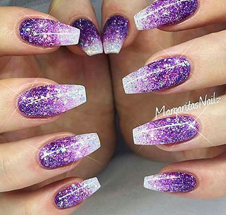 Purple Nails Ombre with Glitter, Nails Nail Glitter Purple