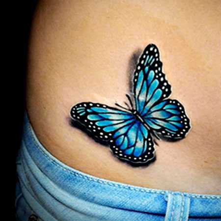 Small Blue Butterfly Tattoo Idea, Butterfly Tattoo 3D Blue