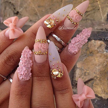 3D Pink Stiletto Nails, Nail Nails Stiletto Pink
