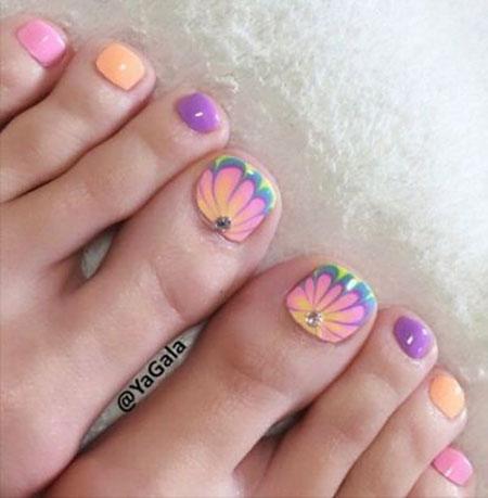 Pink Toe Nail Art, Nail Toe Art Summer