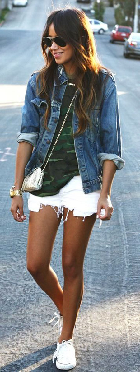 White Jean Shorts Everyday Outfit, Denim White Jean Style