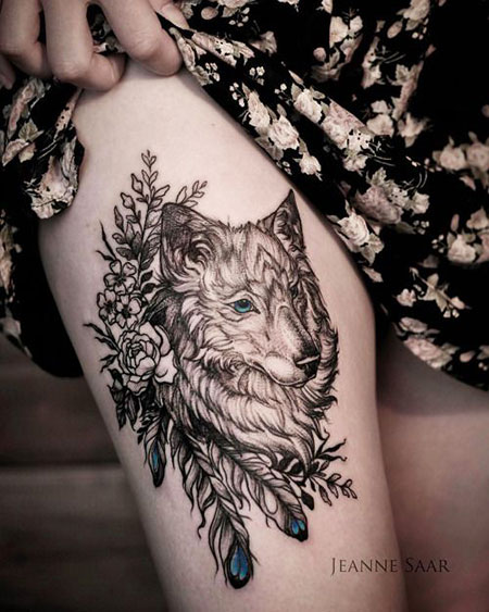 Wolf with Flowers Tattoo Design, Wolf Tattoo Thigh Tattoos
