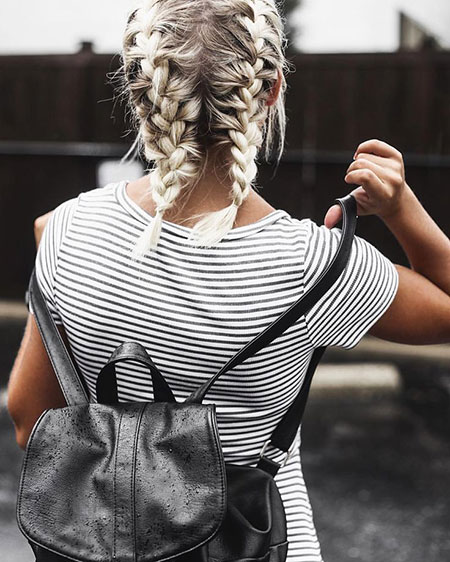 Short Braids Striped Blouse