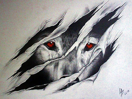 Wolf Art Eagle Painting