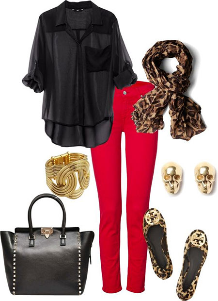 Red Outfits Fashion Jeans