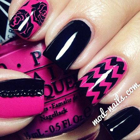 Nail Art Pink Black
