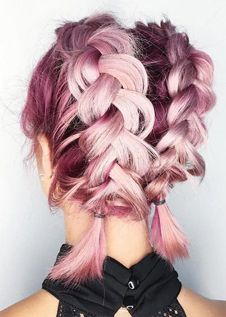 Hair Purple Braid Short