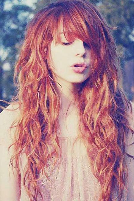 Hair Curly Red Bangs