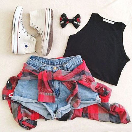 Cute Crop Top Outfit Idea, Fashion Outfits Summer Down